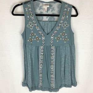 Knox rose moss green embroidered tank top.